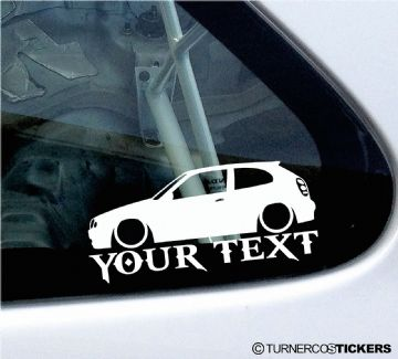 2x Custom YOUR TEXT Lowered car stickers - Toyota Corolla G6 E11 hatch 3-Dr